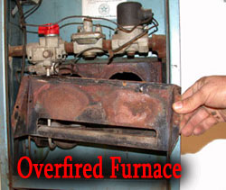 Overfiring a furnace produces more heat than the firebox can handle